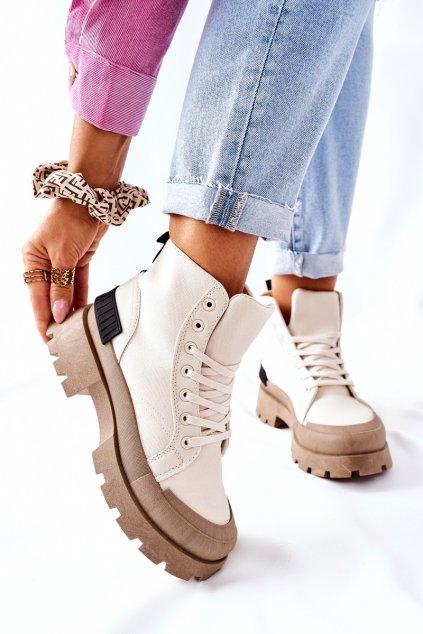 Členkové topánky na podpätku farba hnedá kód obuvi BL267P BEIGE
