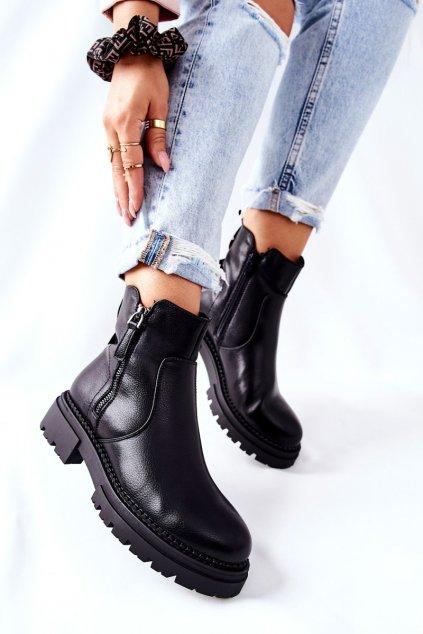 Členkové topánky na podpätku farba čierna kód obuvi 21BT35-4213 BLK