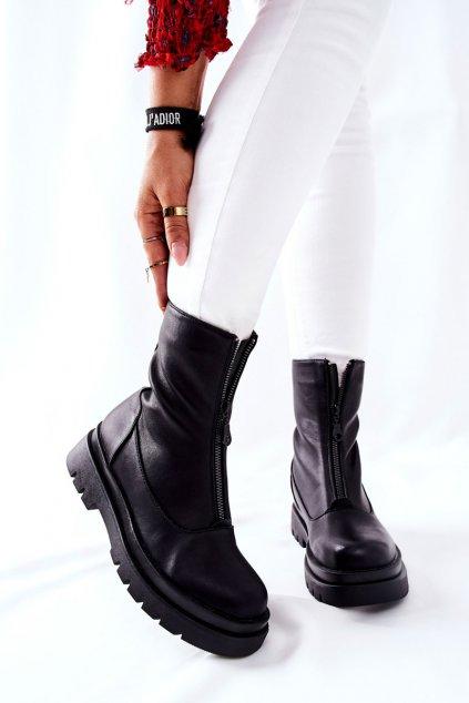 Členkové topánky na podpätku farba čierna kód obuvi 21BT35-4259 BLK