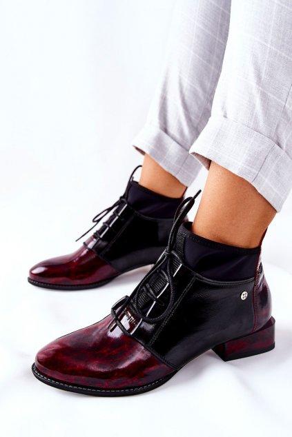Členkové topánky na podpätku farba čierna kód obuvi 04744-29/00-7 BORDOWE