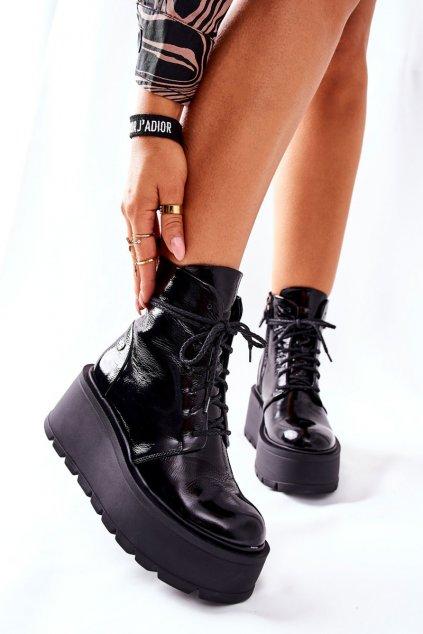 Členkové topánky na podpätku farba čierna kód obuvi 05294-20 BLK