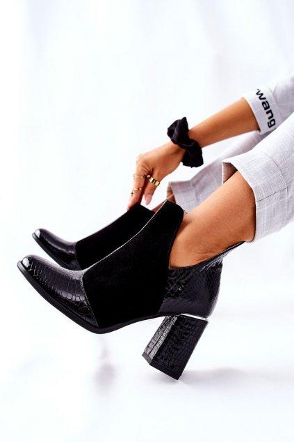 Členkové topánky na podpätku farba čierna kód obuvi 4103 BLK KROK SUEDE