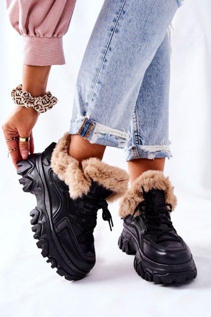 Členkové topánky na podpätku farba čierna kód obuvi HF217 BLK