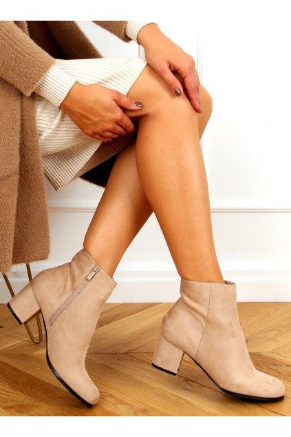 Dámske členkové topánky hnedé na širokom podpätku MM788