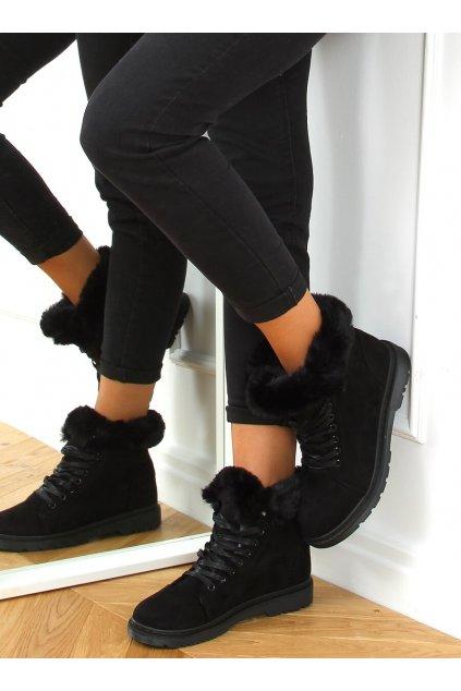 Dámske členkové topánky čierne na plochom podpätku XY21