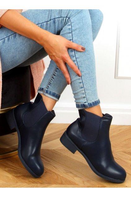 Dámske členkové topánky modré na plochom podpätku 6217