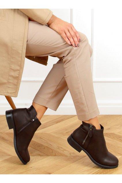 Dámske členkové topánky hnedé na plochom podpätku MM-830