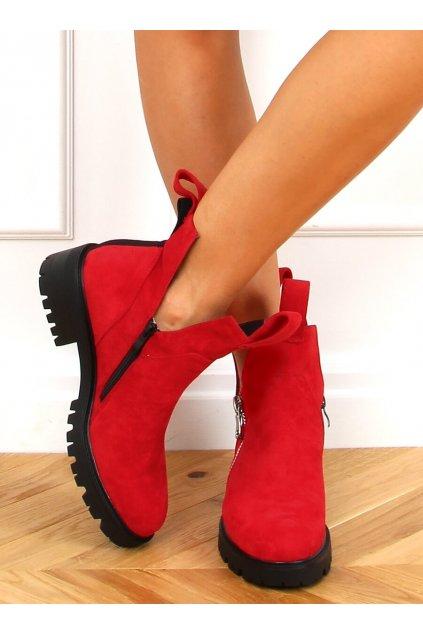 Dámske členkové topánky červené na plochom podpätku SP150