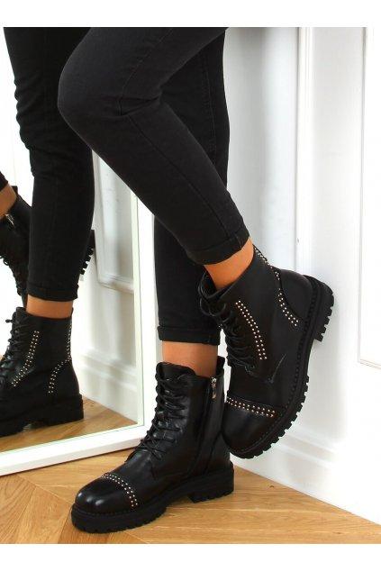 Dámske členkové topánky čierne 8356-PA