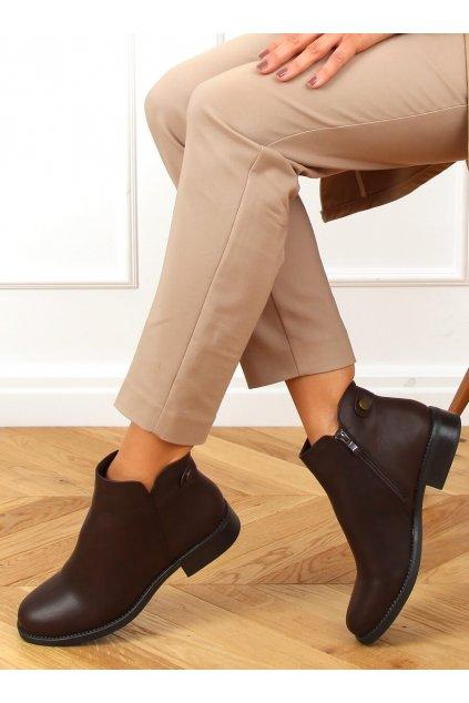 Dámske členkové topánky hnedé na plochom podpätku MM-827