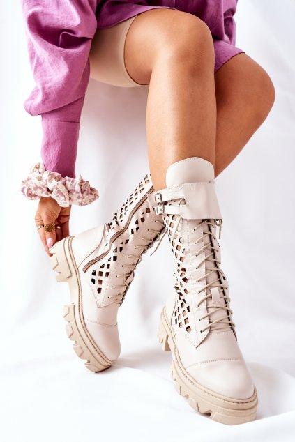Členkové topánky na podpätku farba hnedá kód obuvi 4056 CAPPUCCINO