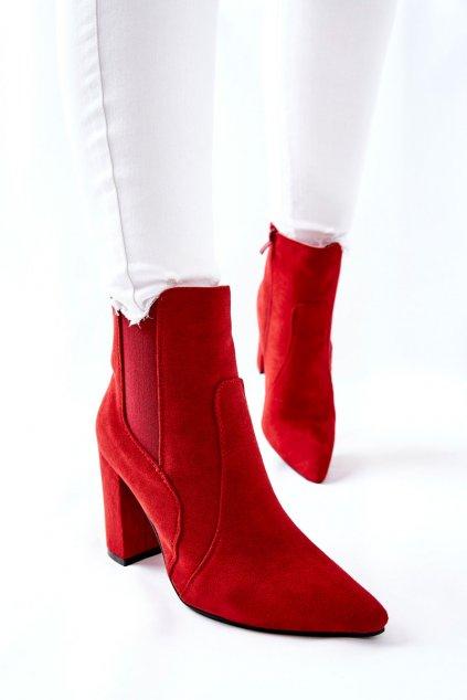 Členkové topánky na podpätku farba červená kód obuvi TX-1847 RED