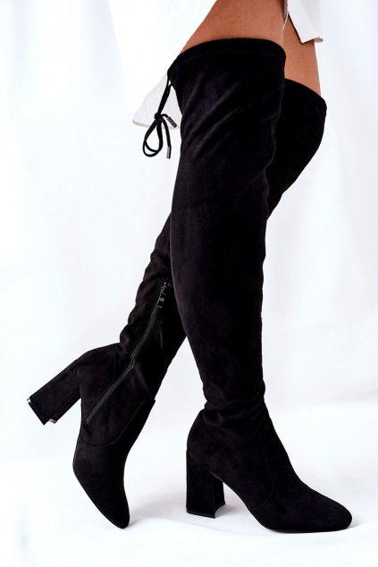 Dámske čižmy farba čierna kód obuvi 4833-5 BLK