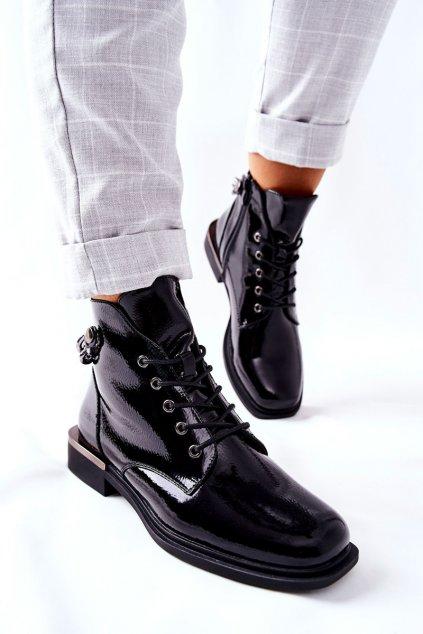 Členkové topánky na podpätku farba čierna kód obuvi BT405 BLK