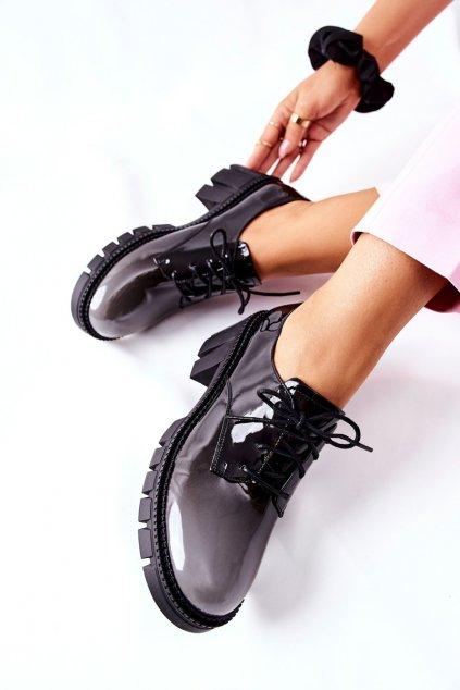 Dámske poltopánky farba čierna kód obuvi F769 GREY