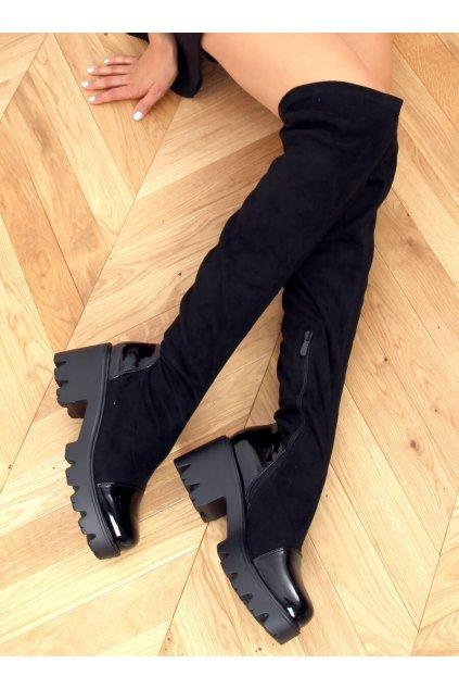 Dámske čižmy mušketierky čierne CH19209