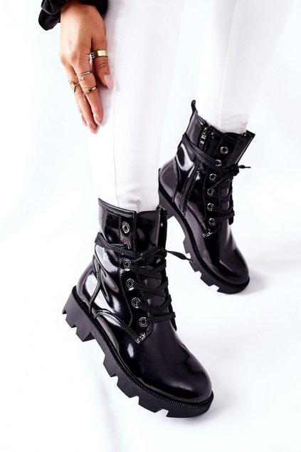 Členkové topánky na podpätku farba čierna kód obuvi Y9551 BLK