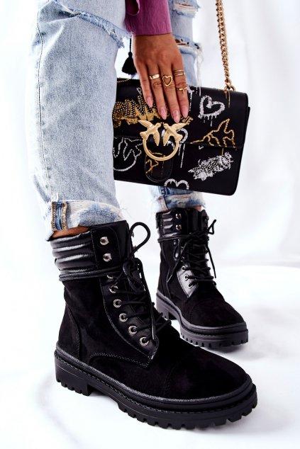 Členkové topánky na podpätku farba čierna kód obuvi 5466 BLK