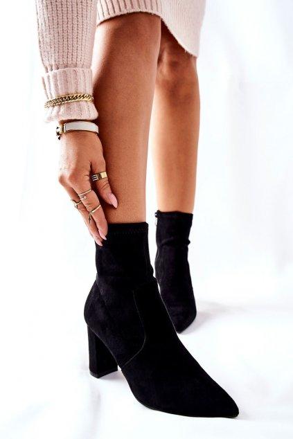 Členkové topánky na podpätku farba čierna kód obuvi Z45-01 BLK
