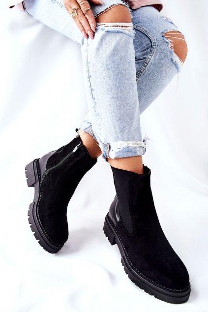 Členkové topánky na podpätku farba čierna kód obuvi 21BT35-4205 BLK
