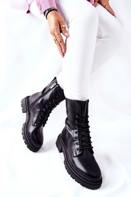 Členkové topánky na podpätku farba čierna kód obuvi 21BT35-4235 BLK