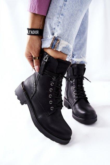 Členkové topánky na podpätku farba čierna kód obuvi 21BT35-4226 BLK