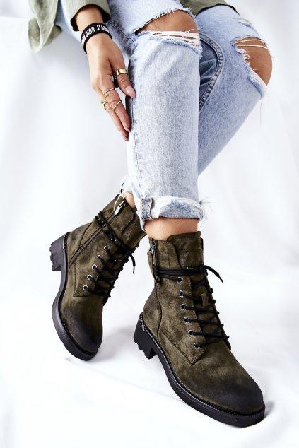 Členkové topánky na podpätku farba zelená kód obuvi 21BT35-4226 GREEN