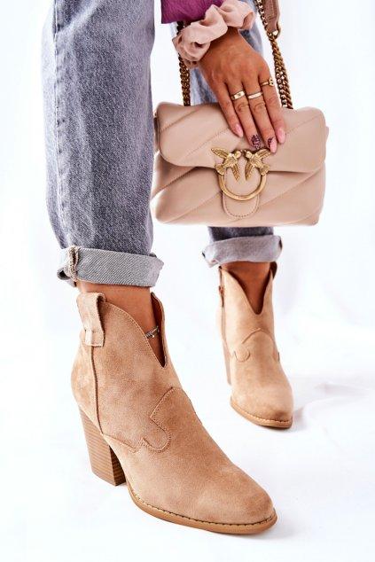 Členkové topánky na podpätku farba hnedá kód obuvi A5607-63 KHAKI