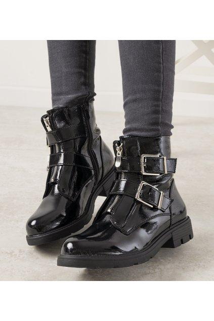 Dámske členkové topánky čierne kód C539-1 - GM