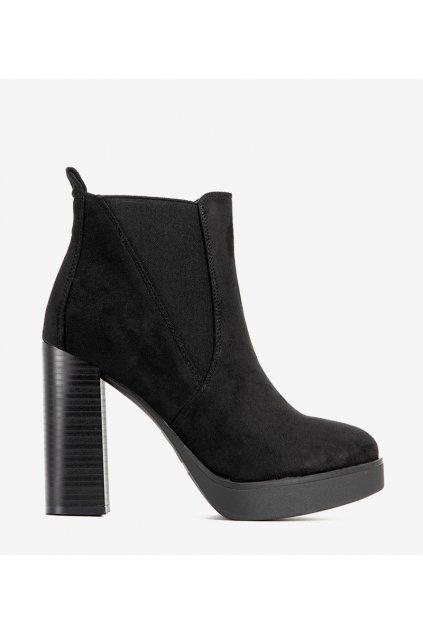 Dámske členkové topánky čierne kód 9568 - GM