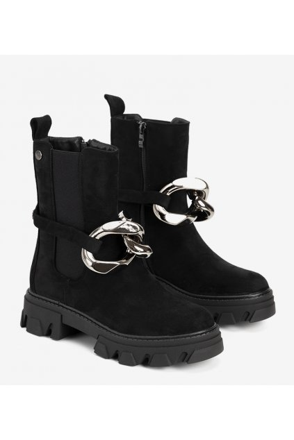 Dámske členkové topánky čierne kód D7867 - GM