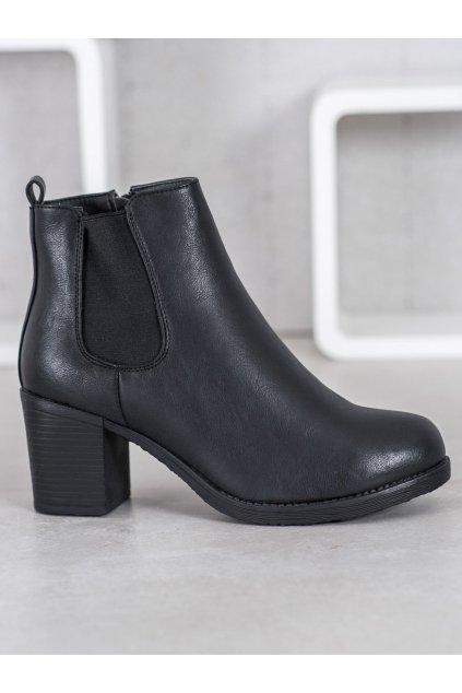 Dámske čierne členkové topánky NJSK S1830-1B