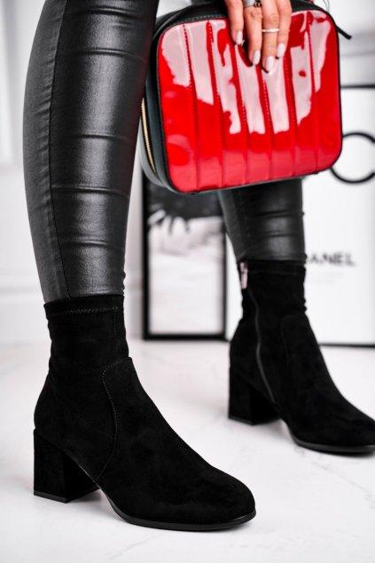 Členkové topánky na podpätku farba čierna kód obuvi 20BT35-3070 BLK