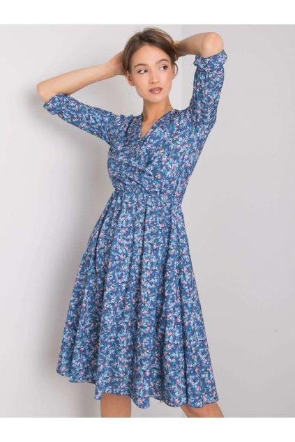 Dámske kvetované šaty modré NJSK WN-SK-839-2.07P