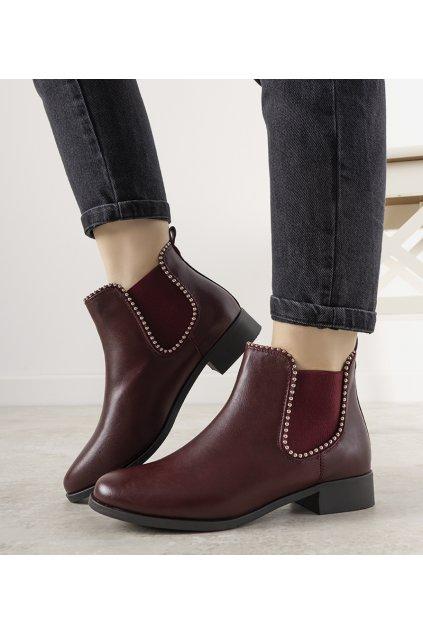 Dámske členkové topánky červené kód Y8160 - GM