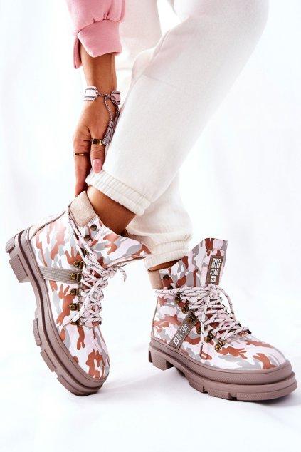 Členkové topánky na podpätku farba ružová kód obuvi II274369 GREY