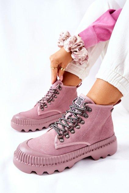 Členkové topánky na podpätku farba ružová kód obuvi II274367 NUDE