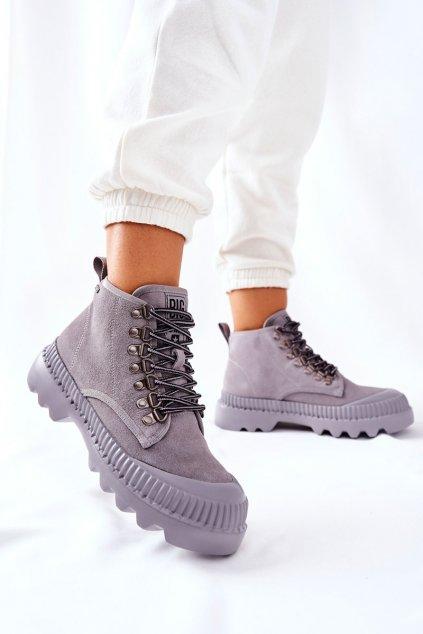 Členkové topánky na podpätku farba sivá kód obuvi II274365 GREY