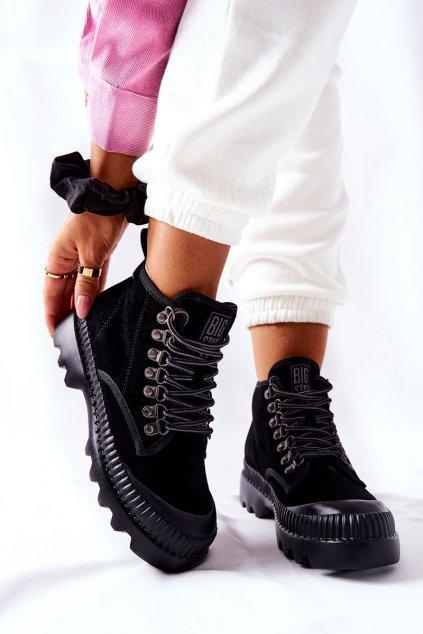Členkové topánky na podpätku farba čierna kód obuvi II274363 BLK