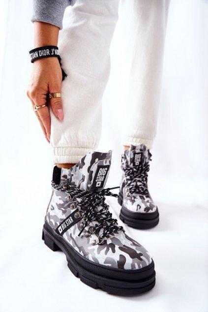 Členkové topánky na podpätku farba čierna kód obuvi II274368 BLK