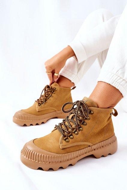 Členkové topánky na podpätku farba hnedá kód obuvi II274366 CAMEL