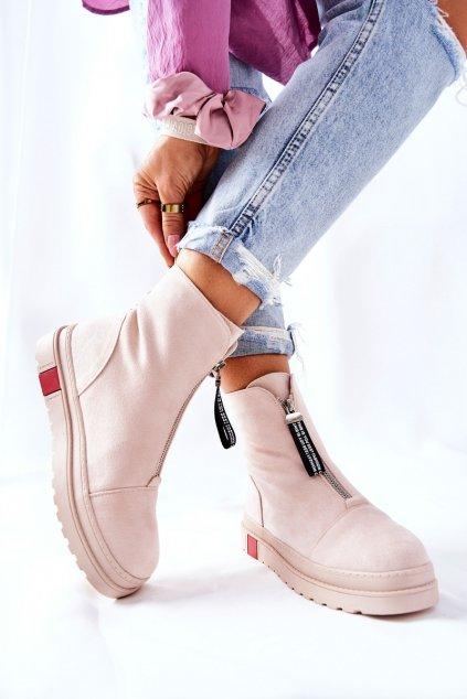 Členkové topánky na podpätku farba hnedá kód obuvi NS212 BEIGE