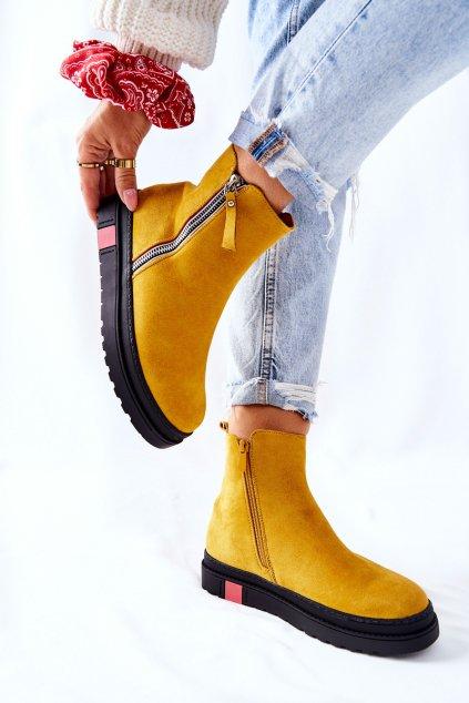 Členkové topánky na podpätku farba žltá kód obuvi NS215 YELLOW