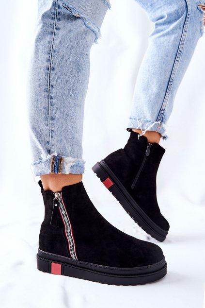 Členkové topánky na podpätku farba čierna kód obuvi NS215 BLK