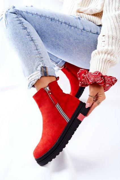 Členkové topánky na podpätku farba červená kód obuvi NS215 RED