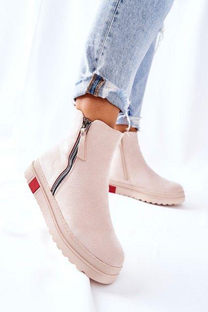 Členkové topánky na podpätku farba hnedá kód obuvi NS215 BEIGE