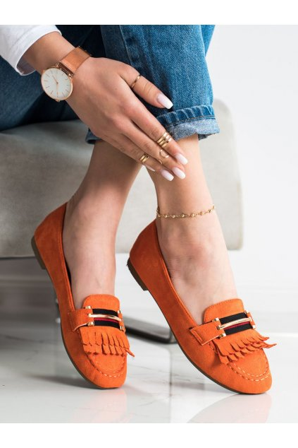 Oranžové dámske mokasíny Anesia paris kod 88-381OR