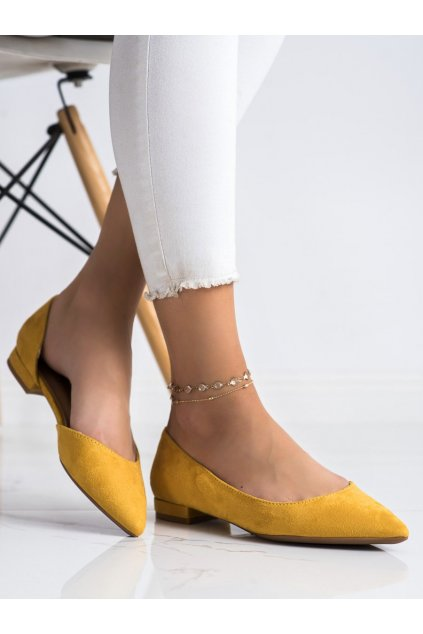 Žlté dámske balerínky Lovery kod MM-593Y