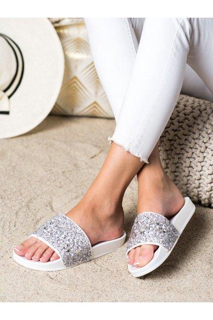 Biele dámske šľapky Trendi kod L118W