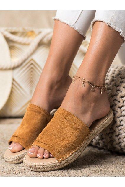 Hnedé dámske šľapky Trendi kod LX203C